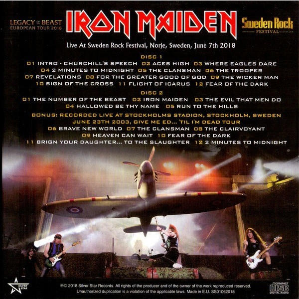 Iron Maiden Legacy of The Beast European Tour 2018 Sweden Rock Festival (2xcd) Ltd Edit Digipack -E.U