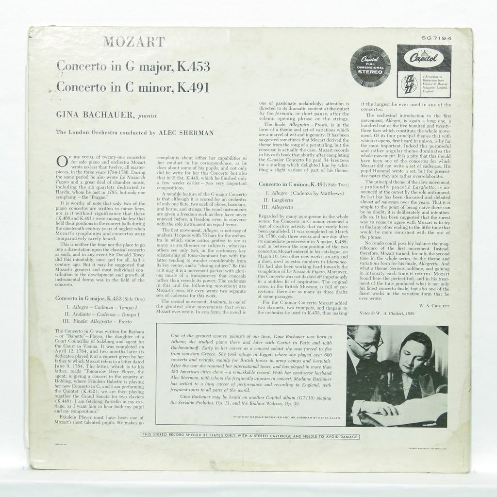 Gina Bachauer Mozart : Concertos K.453 & K.491