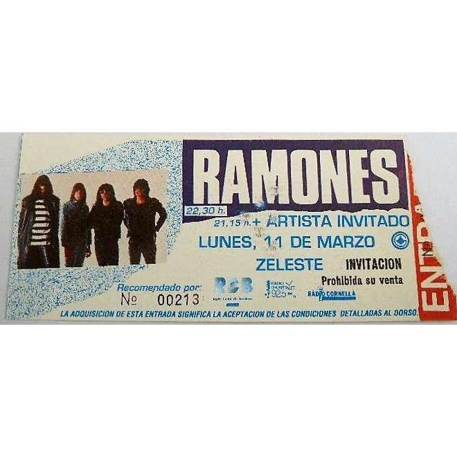 Ramones Sala Zeleste Barcelona 11.03.1991 (Spanish 1991 original Concert Ticket!!)