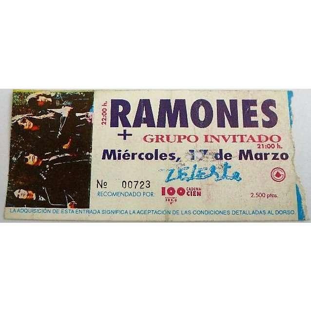Ramones Sala Zeleste Barcelona 17.03.1993 (Spanish 1993 original concert ticket!!)