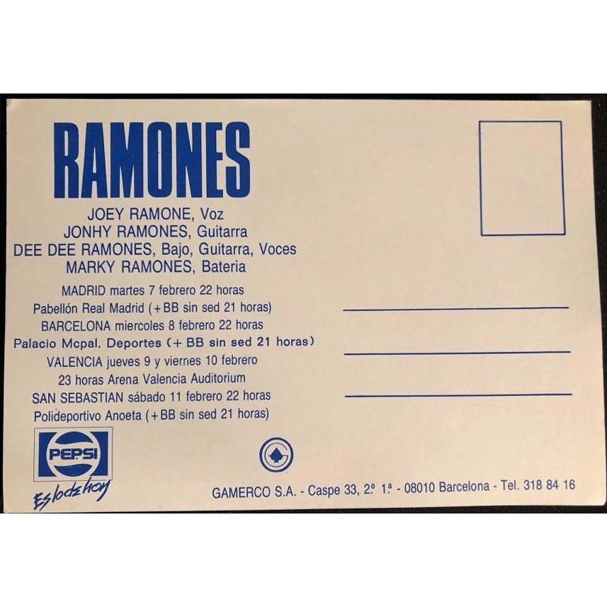 Ramones En Concierto - Spanish 1989 Tour (Spanish 1989 double sided 'Tour dates' Concerts promo flyer!)