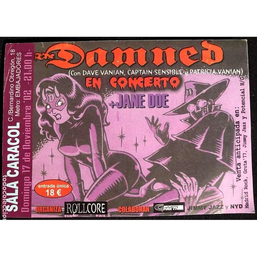 Damned En Concierto - Sala Caracol Madrid 17.11.2002 (Spanish 2002 original promo concert flyer!!)