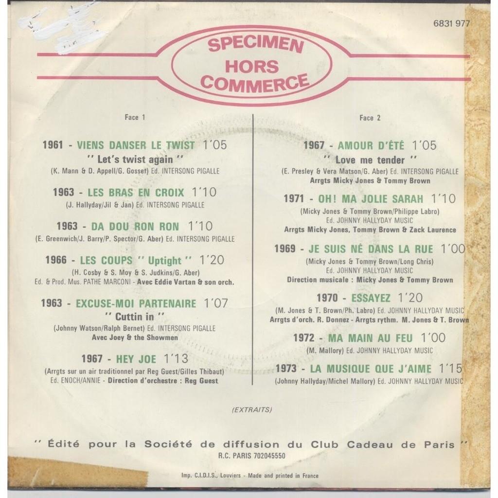 Johnny Hallyday 1961 Succés 1973 ( 12 Titres )