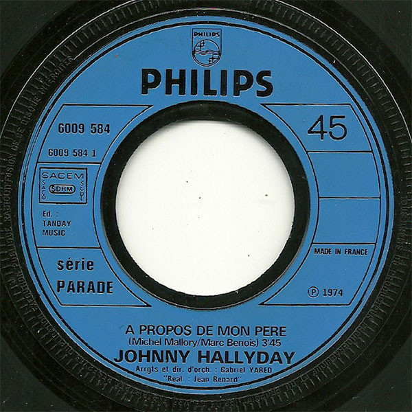 HALLYDAY JOHNNY a propos de mon père / à l'hotel des cœurs brisés