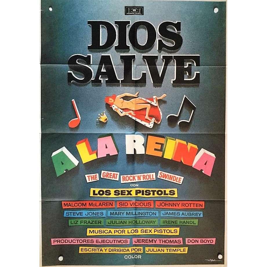 Sex Pistols Dios Salve A La Reina (Spanish 1980 original promo film Cinema poster!!)