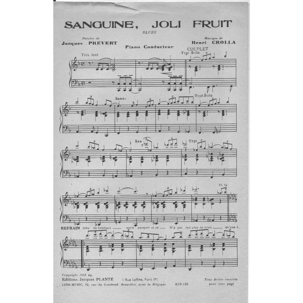 Jacques Prévert/Henri Crolla SANGUINE JOLI FRUIT