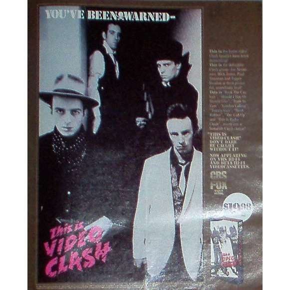 The Clash This Is Video Clash (USA 1986 'CBS' promo type advert 'Video Release' poster!)