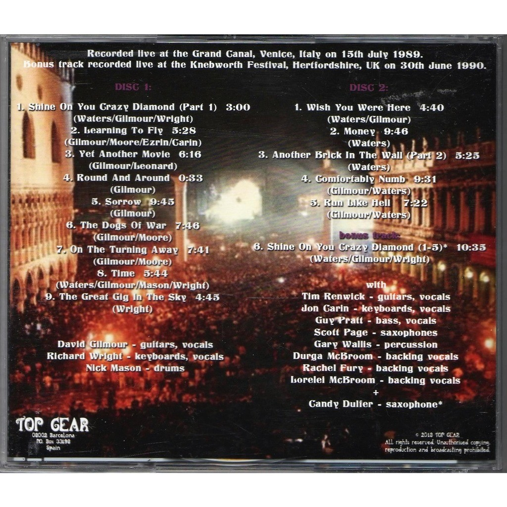 Pink Floyd Live In Venice 1989 (Grand Canal Venice IT 15.07.1989 etc.)