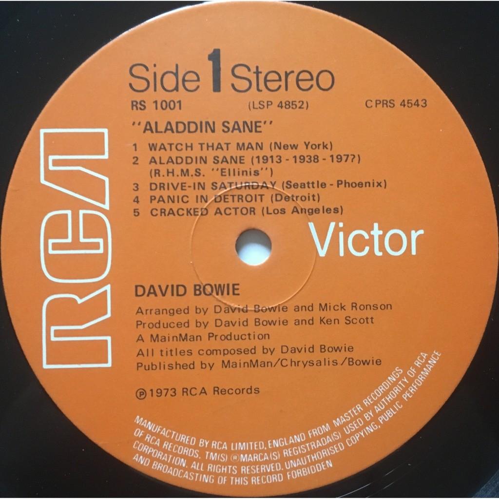 DAVID BOWIE - ALADDIN SANE (RARE U.K. PRESSING 12 VINYL LP + INSERT - MATRIX SIDE 1 : CPRS 4543-A)