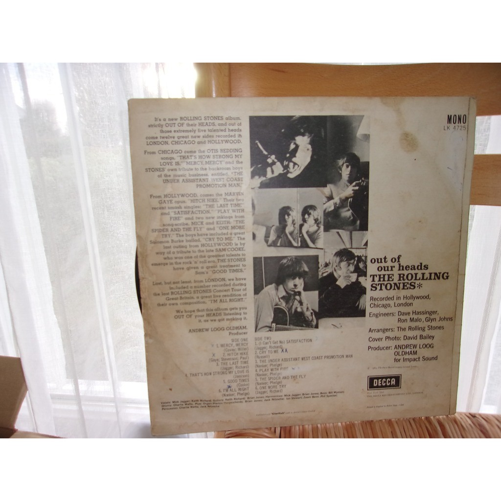 ROLLING STONES OUT OF OUR HEADS -signed by Keith richards, Mick Jagger & Charlie Watts-
