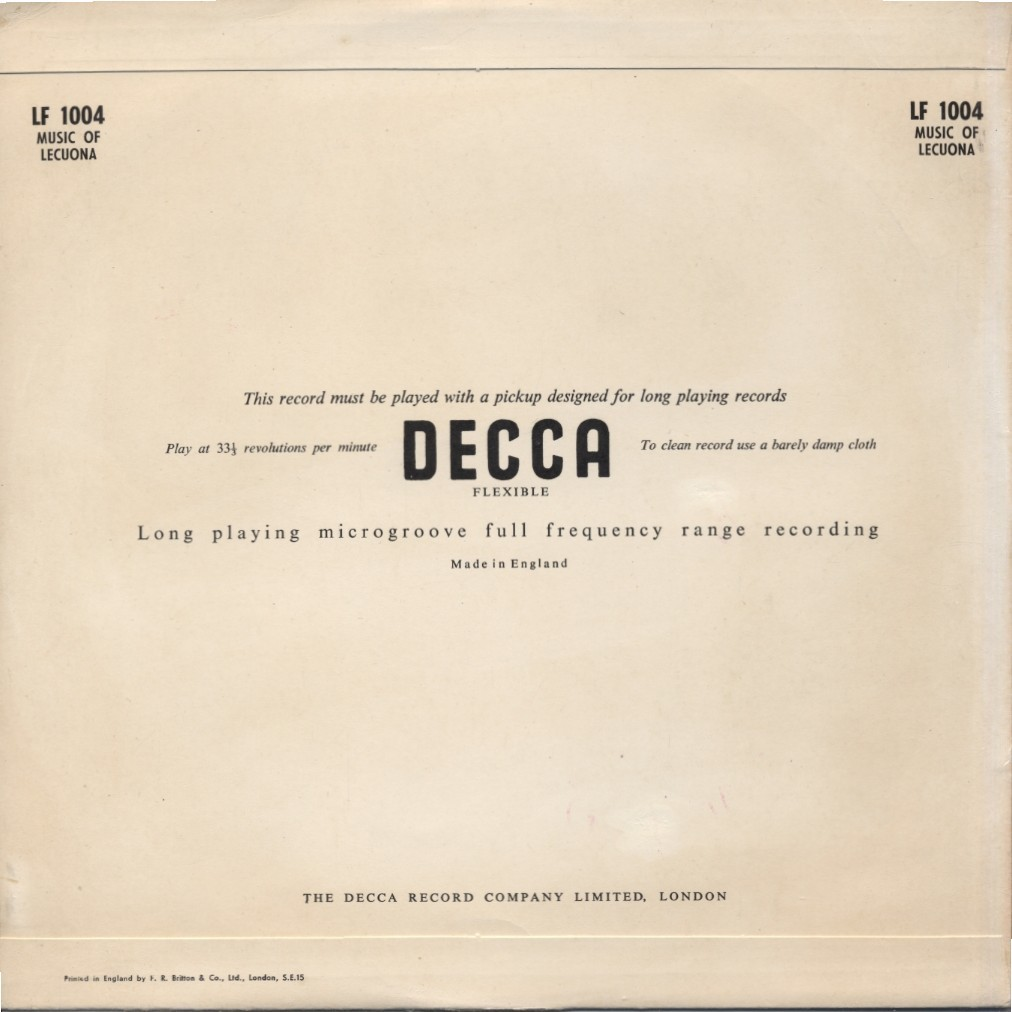 STANLEY BLACK and (&) His Orchestra Music Of Ernesto Lecuona
