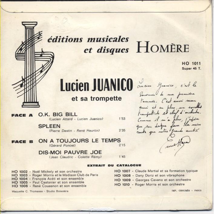 LUCIEN JUANICO et sa trompette O. K. Big Bill + 3 (texte manuscrit de présentation par Enrico Macias)