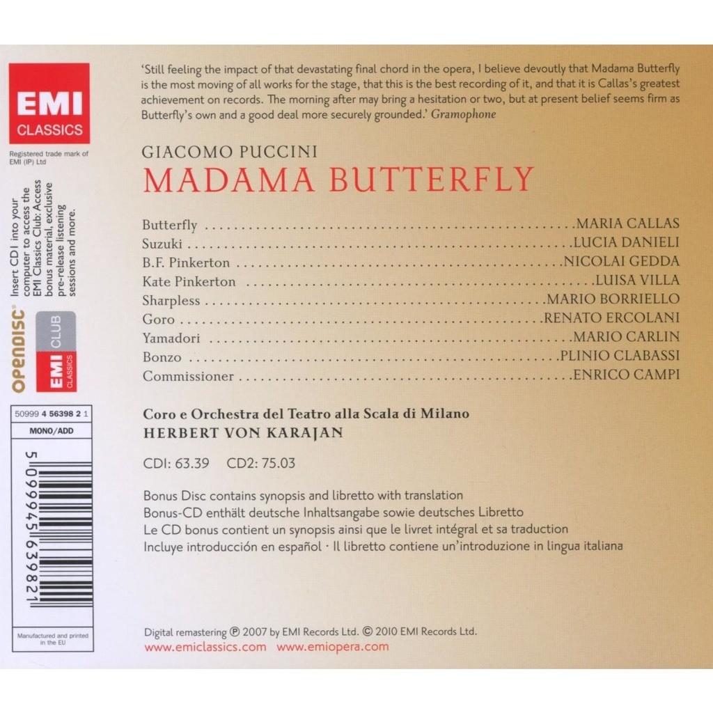 Madama butterfly / milan teatro alla scala orch  karajan, callas, gedda,  danieli, borriello, carlin de Puccini, Giacomo, CD x 3 chez melomaan