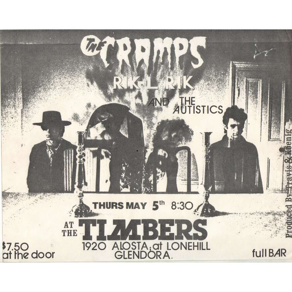CRAMPS / Rik-L Rik AT THE TIMBERS THURS MAY 5TH (US 80S LTD PROMO b/w graphics POSTER CONCERT FLYER)