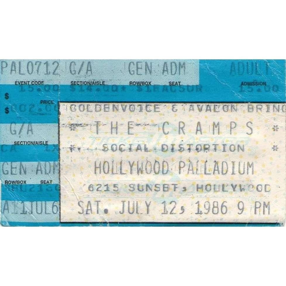 The Cramps / Social Distortion Hollywood Palladium 12.07.1986 (USA 1986 original Concert punk Ticket!!)