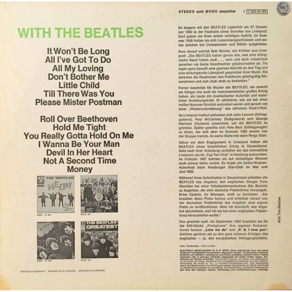 BEATLES - WITH THE BEATLES (GER. PRESSING 12 VINYL LP)