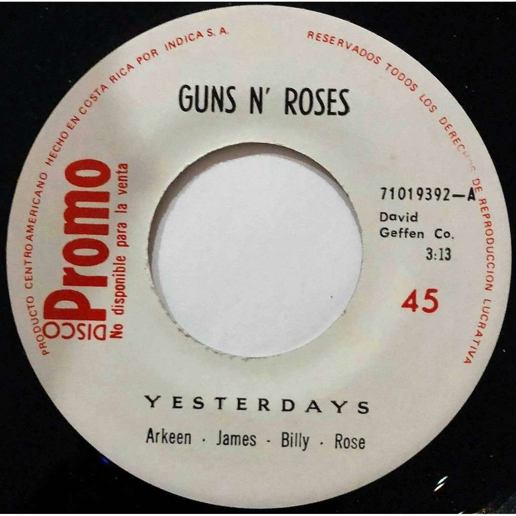guns n' roses Yesterday (Costa Rica 1991 official 1-trk 1-sided w/label 7single promo on Geffen-Indica S.A.lbl)