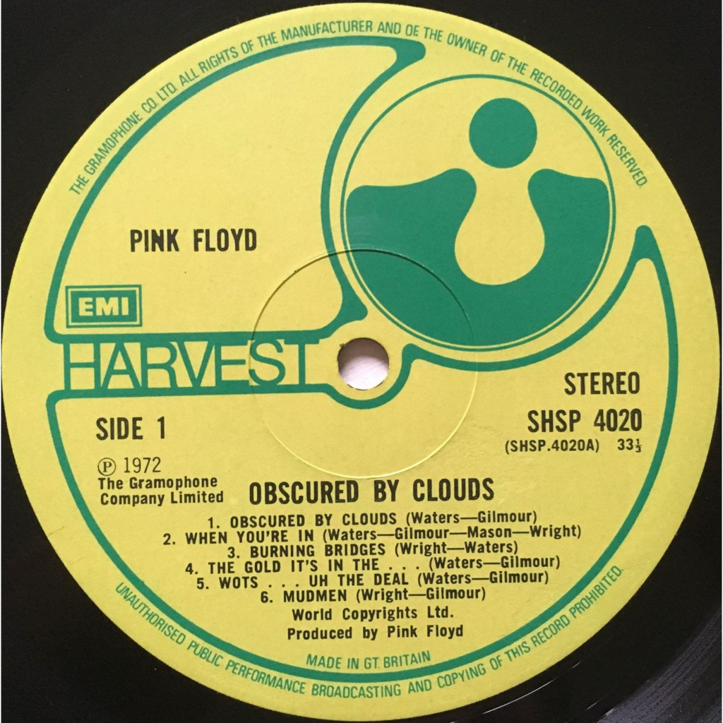 PINK FLOYD - OBSCURED BY CLOUDS (RARE ORIG. 1st U.K. PRESSING 12 VINYL LP ROUND CORNERS : MATRIX SIDE 1 : SHSP 4020 A-2