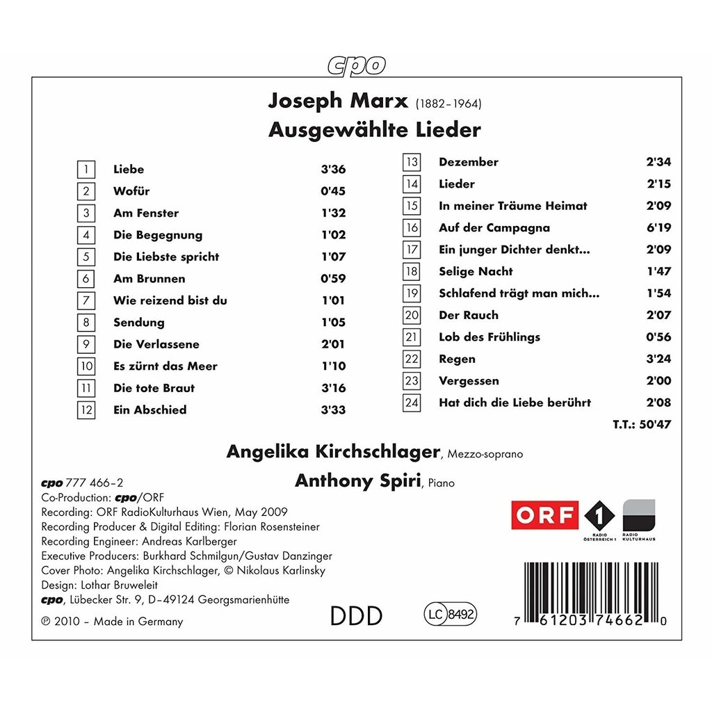 Marx, Joseph Angelika Kirchschlager Sings Joseph Marx