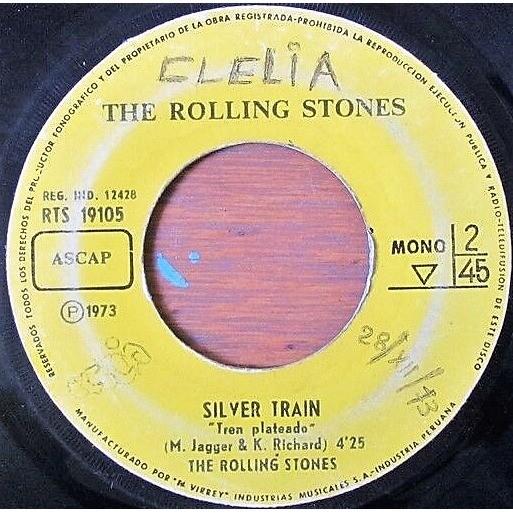 Rolling Stones Angie (Peruvian 1972 original 2-trk 7single on El Virrey spanish titles lbl Co. slv!)