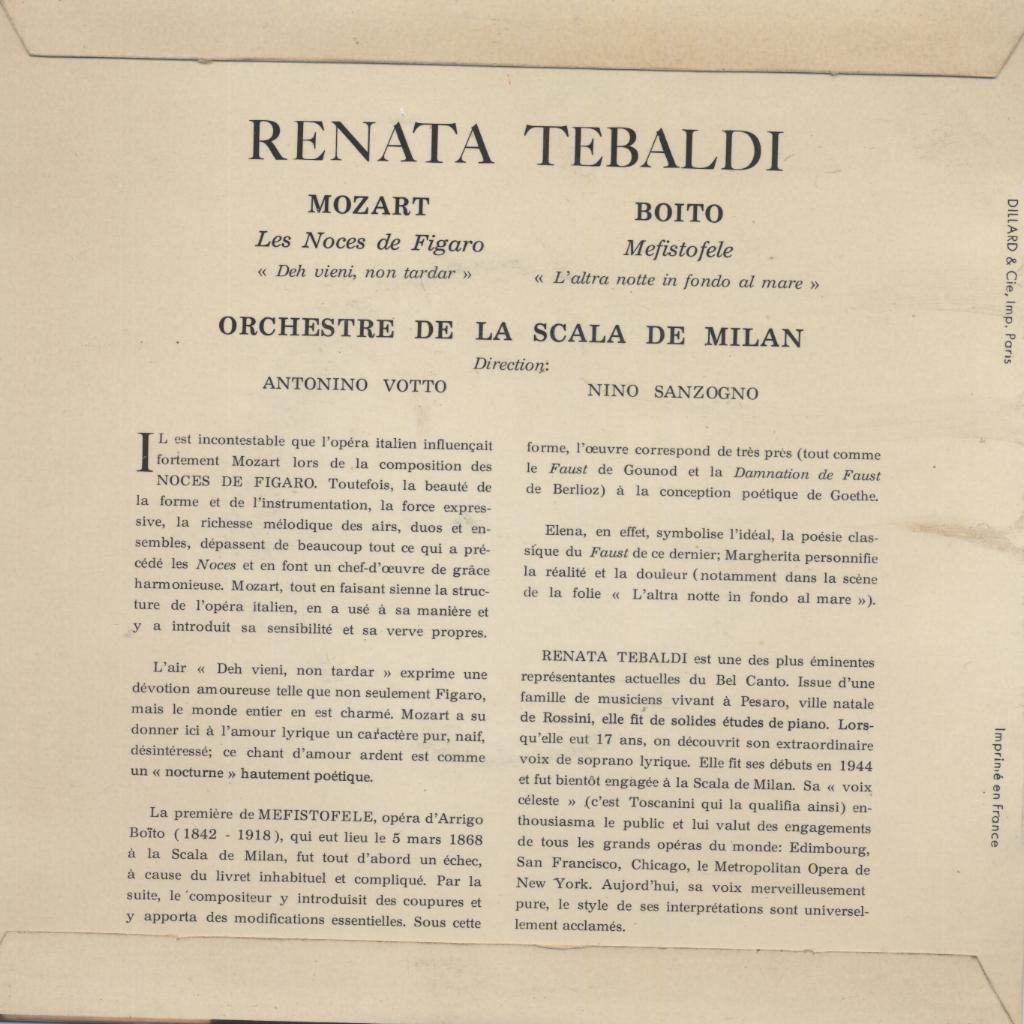 Les Noces De Figaro Mozart Mefistofele Boito De Renata Tebaldi 45 Rpm Sp 2 Títulos Con Yvandimarco