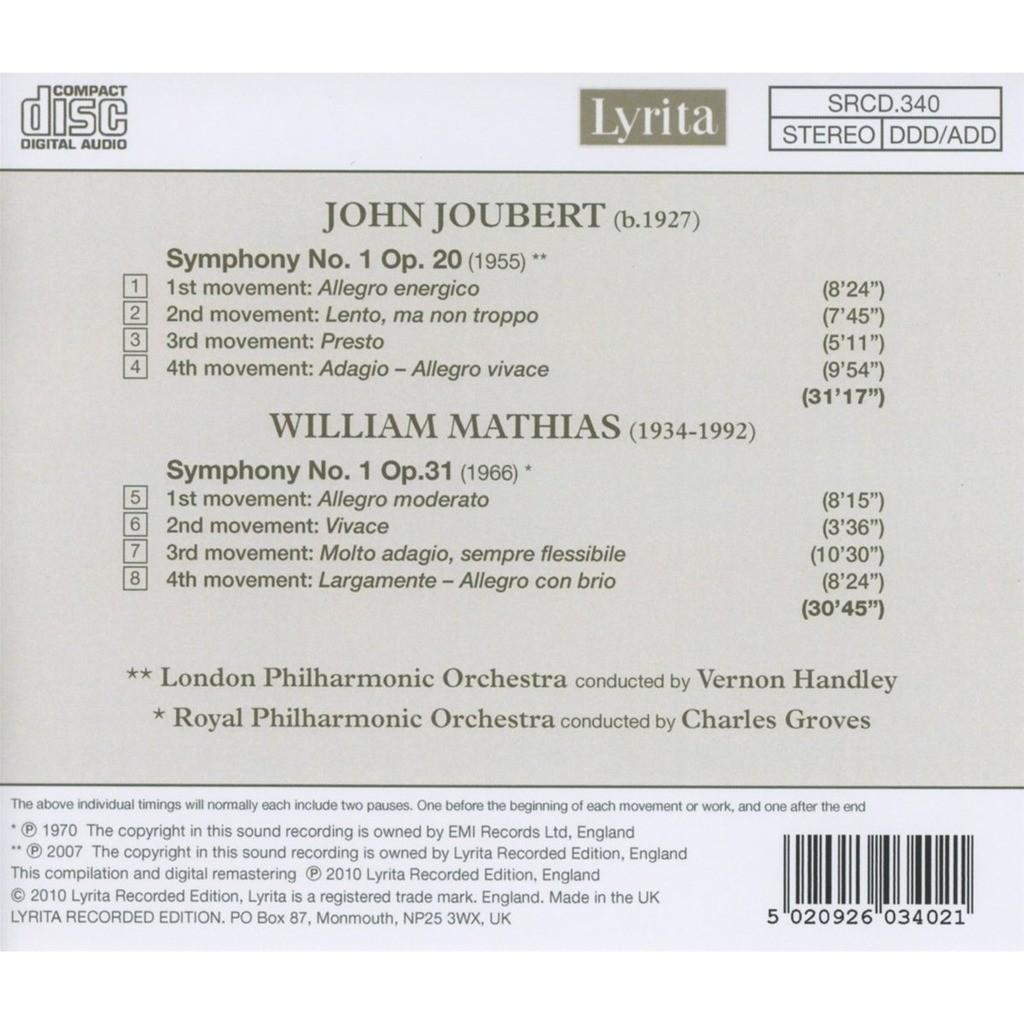 Joubert / Mathias First Symphonies / London PO, Royal PO, Vernon Handley, Charles Groves