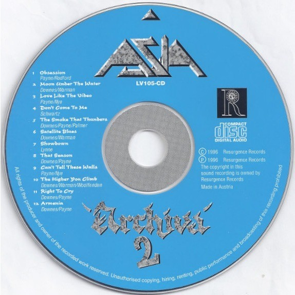 ASIA - ARCHIVA 2 (AUS. PRESSING 1 CD)