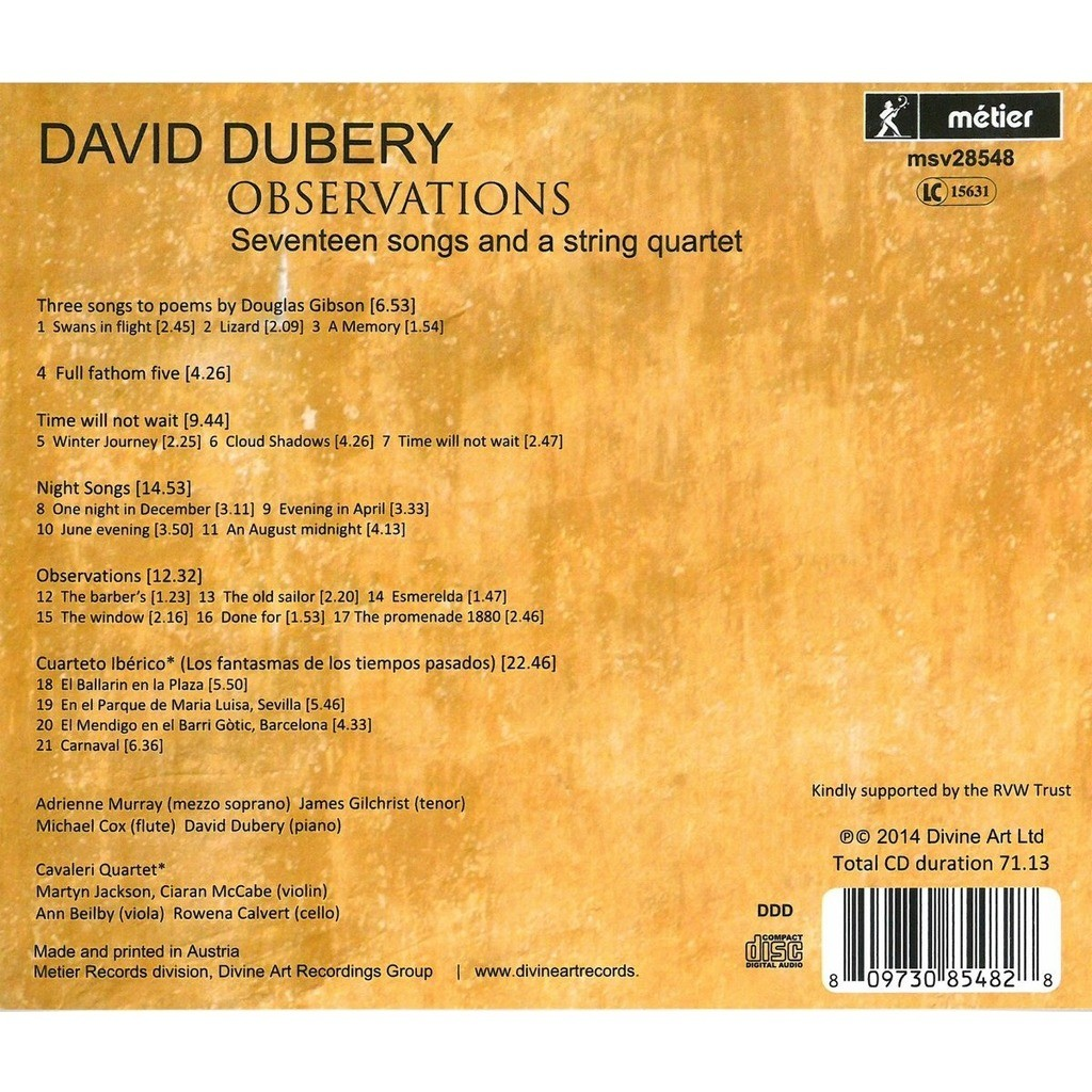 Dubery, David (1948-) Observations: Seventeen Songs and String Quartet / Adrienne Murray, James Gilchris, Cavaleri Quartet
