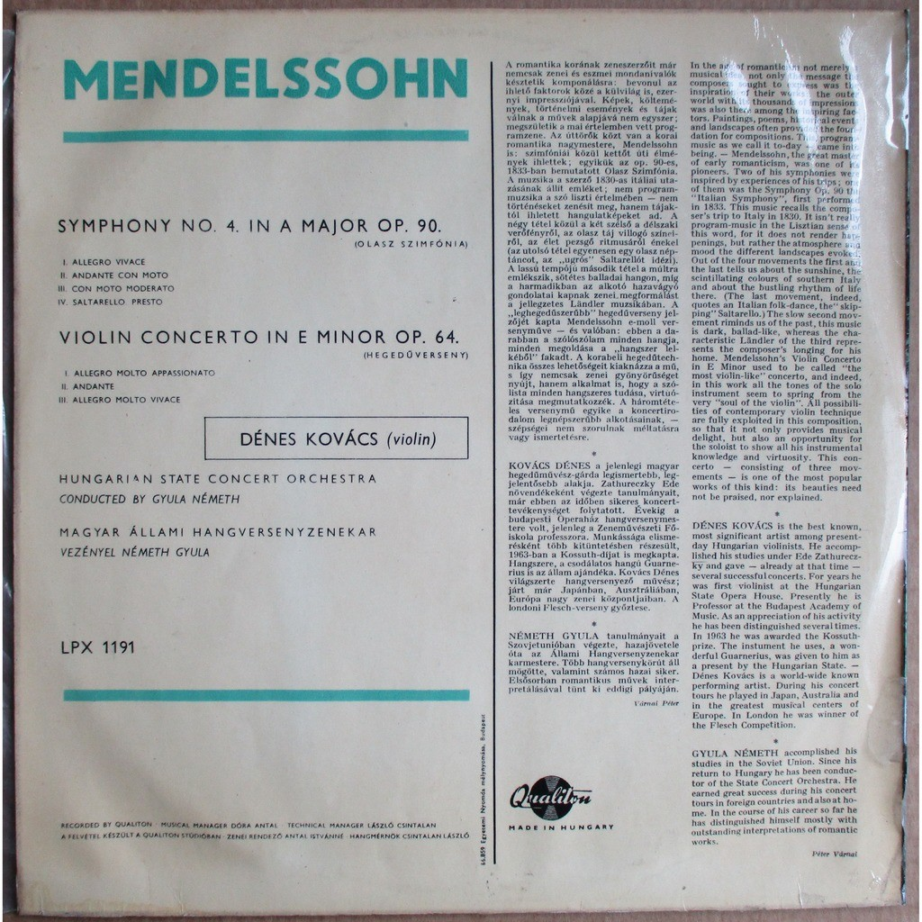 Dénes Kovács Mendelssohn Violin Concerto, Symphony 4 Italian NEMETH QUALITON LPX 1191 NM