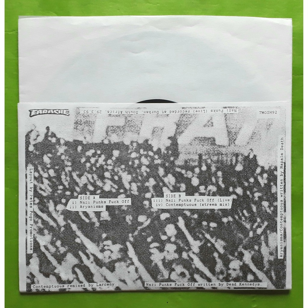 NAPALM DEATH NAZY PUNKS FUCK OFF-(Limited édition)(45T)(Blue vinyl)(Original)(1993)(UK).