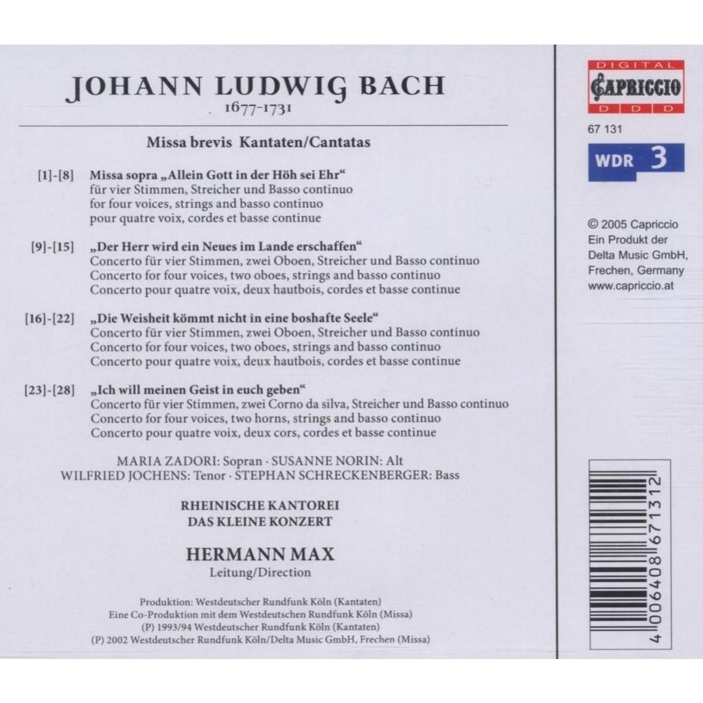 Bach, Johann Ludwig Missa brevis & Cantatas / Rheinische Kantorei, Das kleine Konzert, Hermann Max