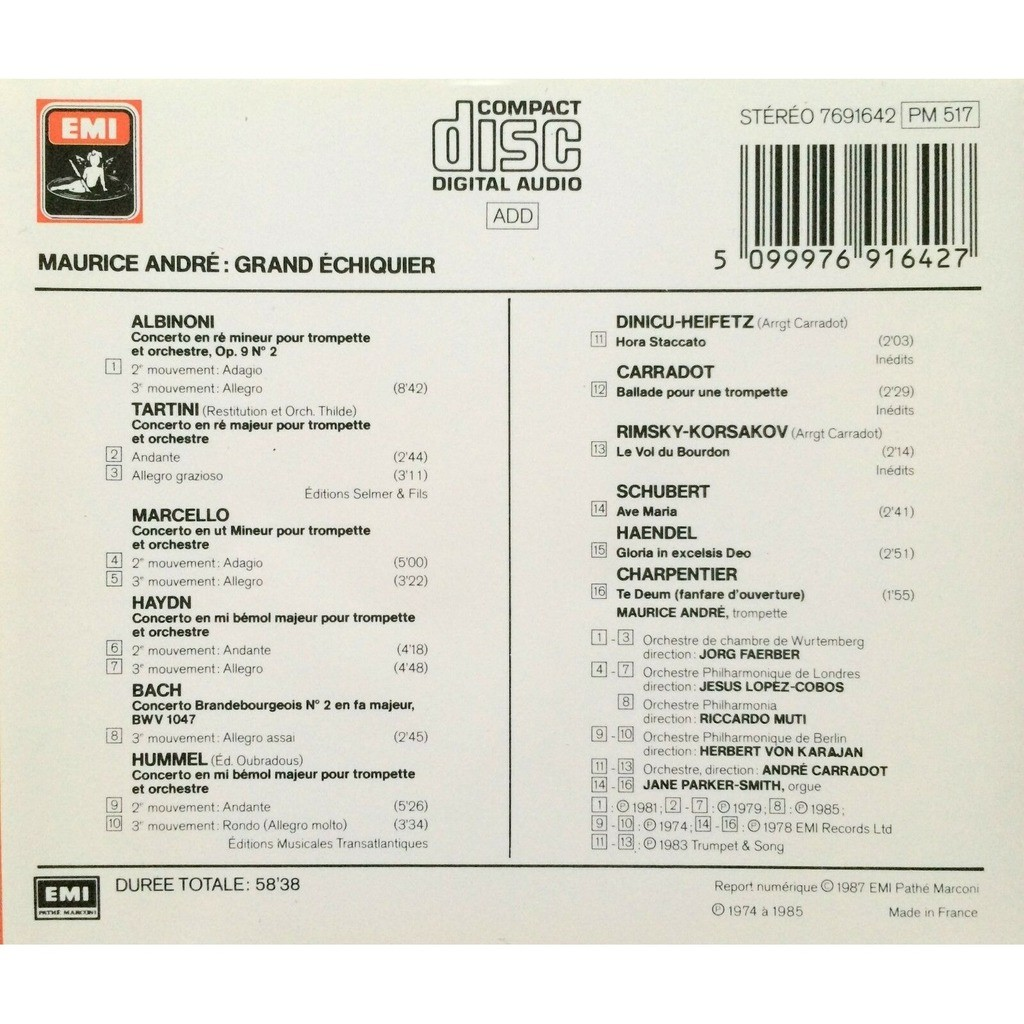 MAURICE ANDRE - GRAND ECHIQUIER (FR. PRESSING 1 CD)
