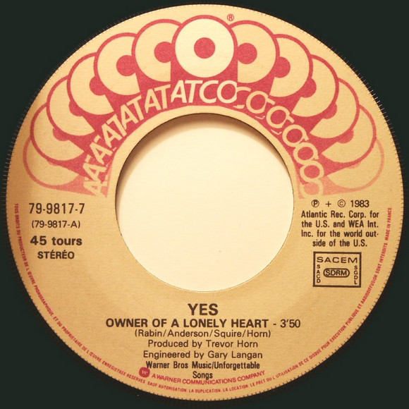 YES OWNER OF A LONELY HEART/Our Song