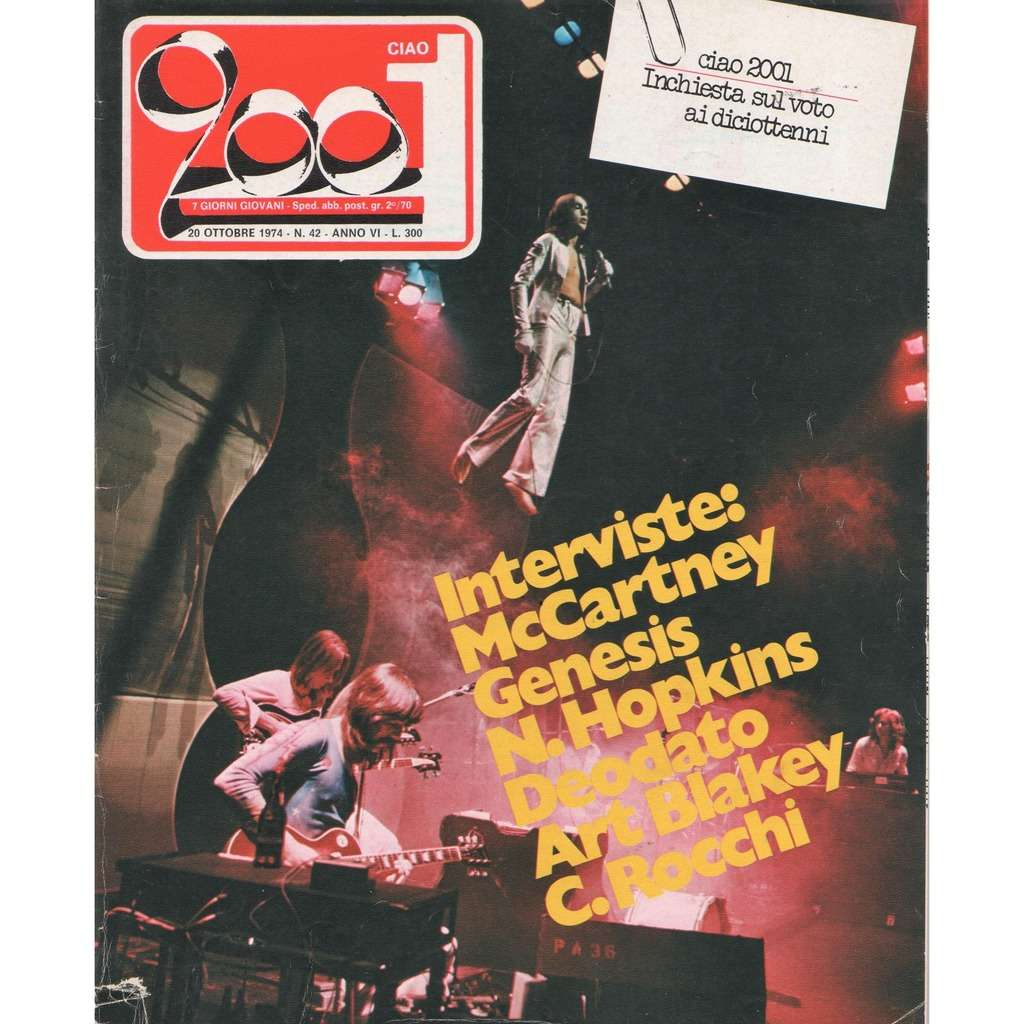 Genesis Ciao 2001 (20.10.1974) (Italian 1974 full Genesis front cover magazine!!)