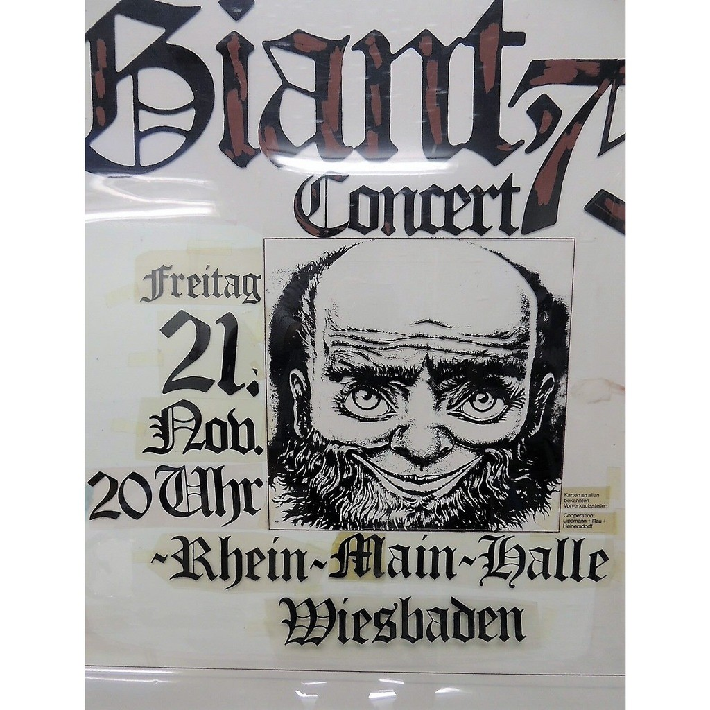 Gentle Giant Rhein Main Halle Wiesbaden 21.11.75 (German 1975 original Printing Film for'Günther Kieser'poster)