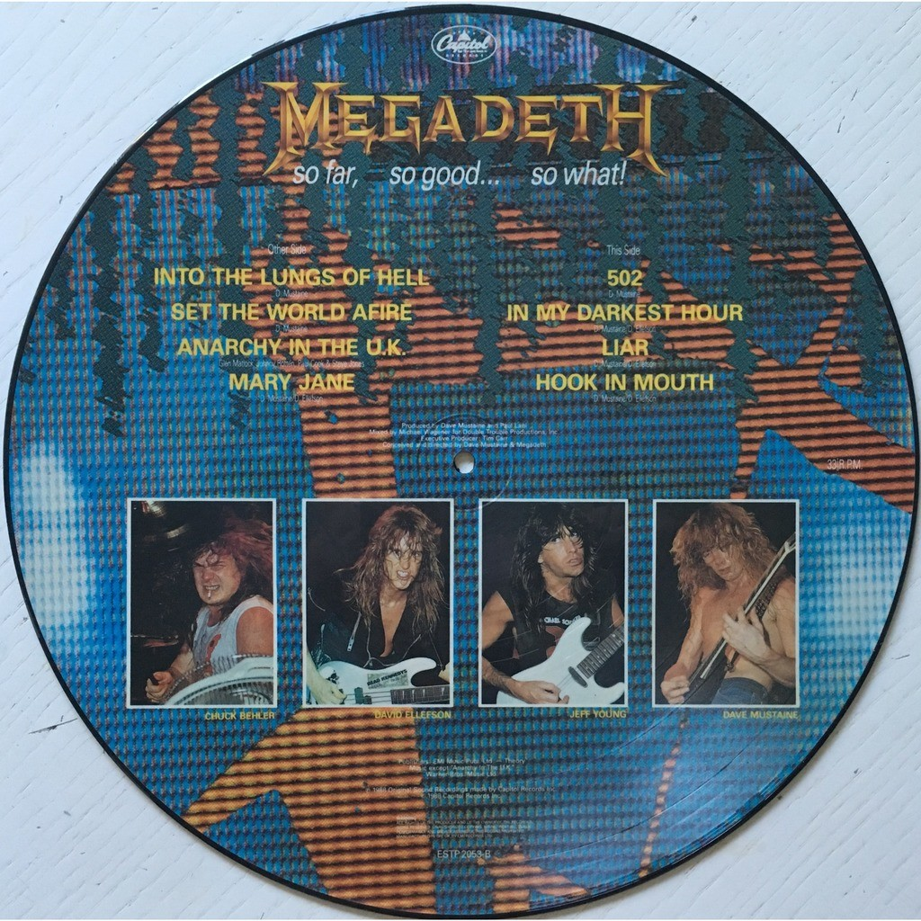 MEGADETH - SO FAR, SO GOOD... SO WHAT ! (U.K. PRESSING 12 VINYL LP PIC/DISC + BACK INSERT)