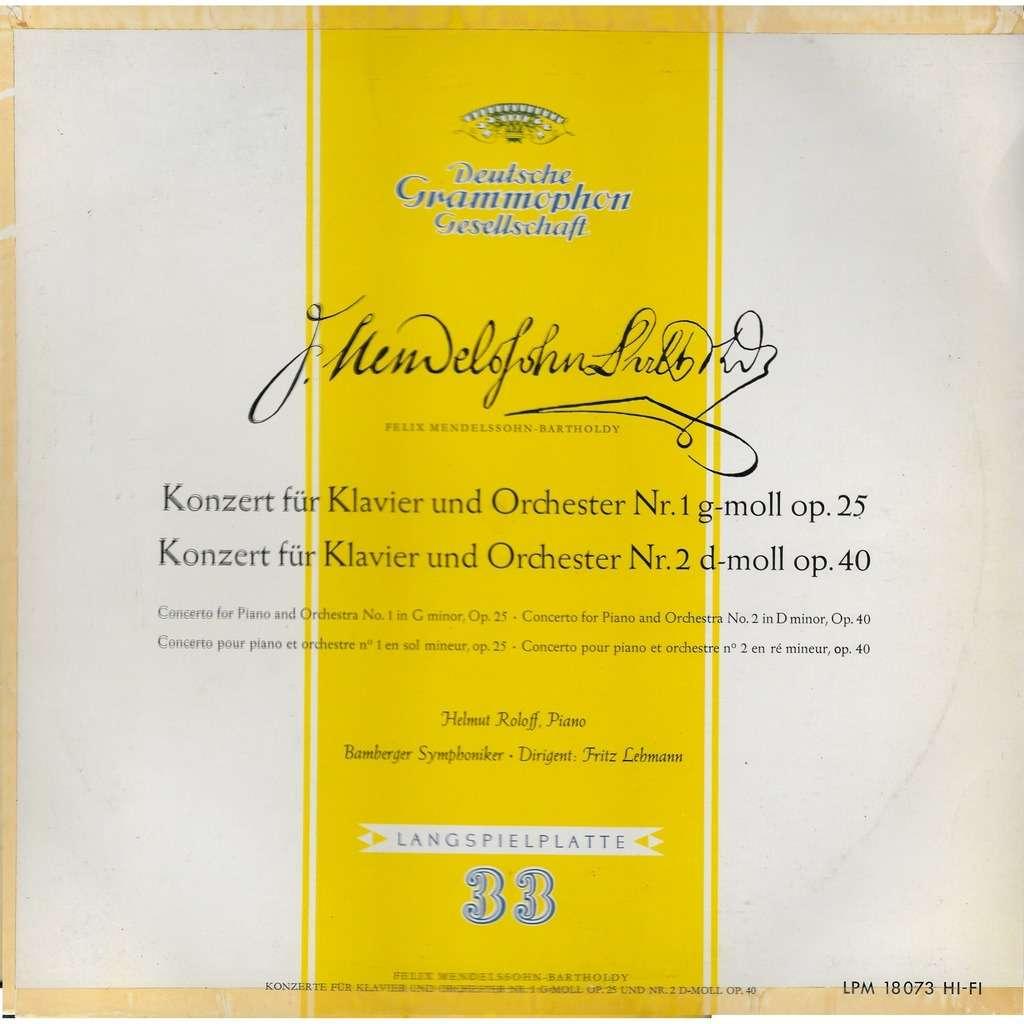 Helmut ROLOFF piano MENDELSSOHN Concerto Piano 1 op 25 & 2 op 40