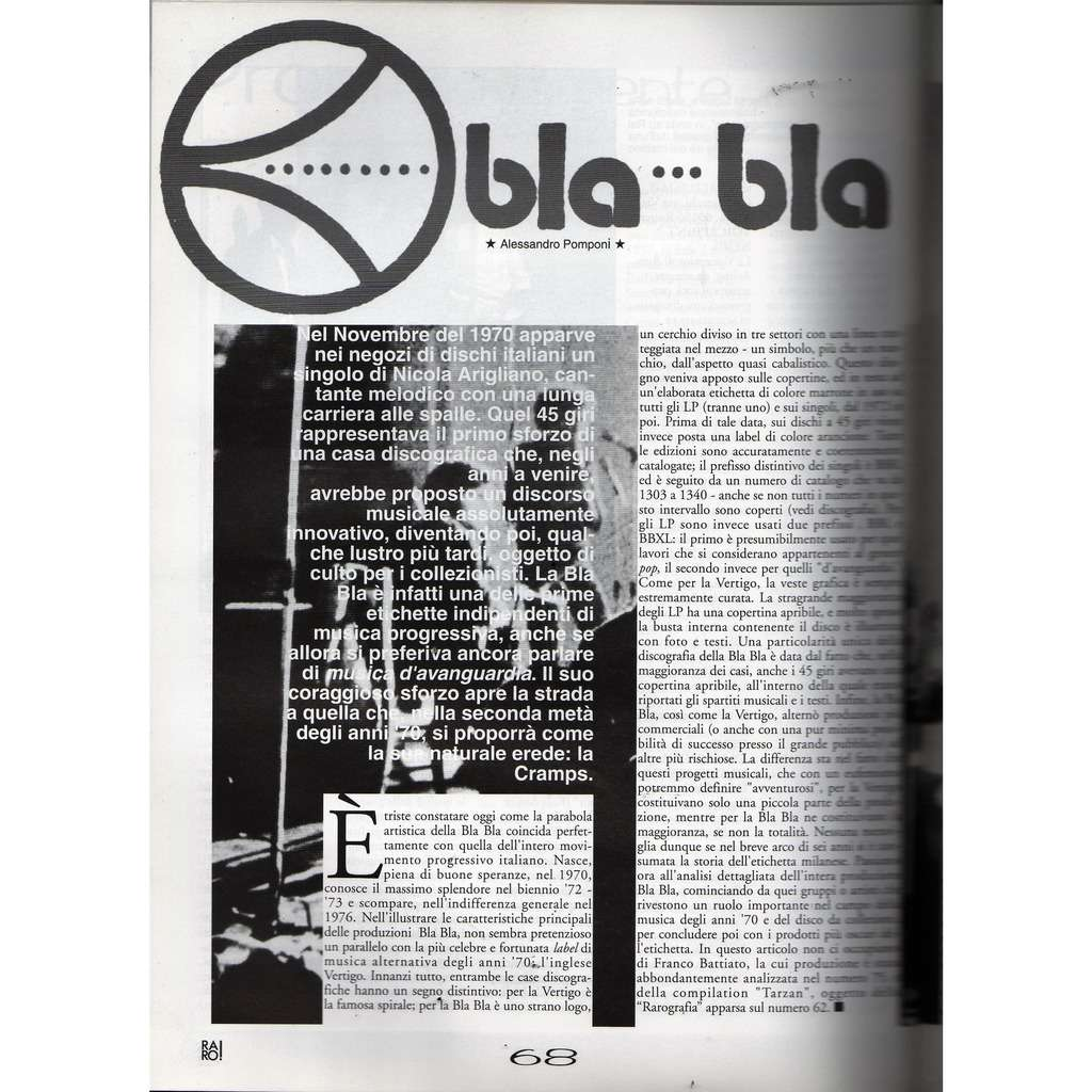 Franco Battiato / Bla Bla RARO! (N.77 April 1997) (Italian 1997 music collector's magazine)