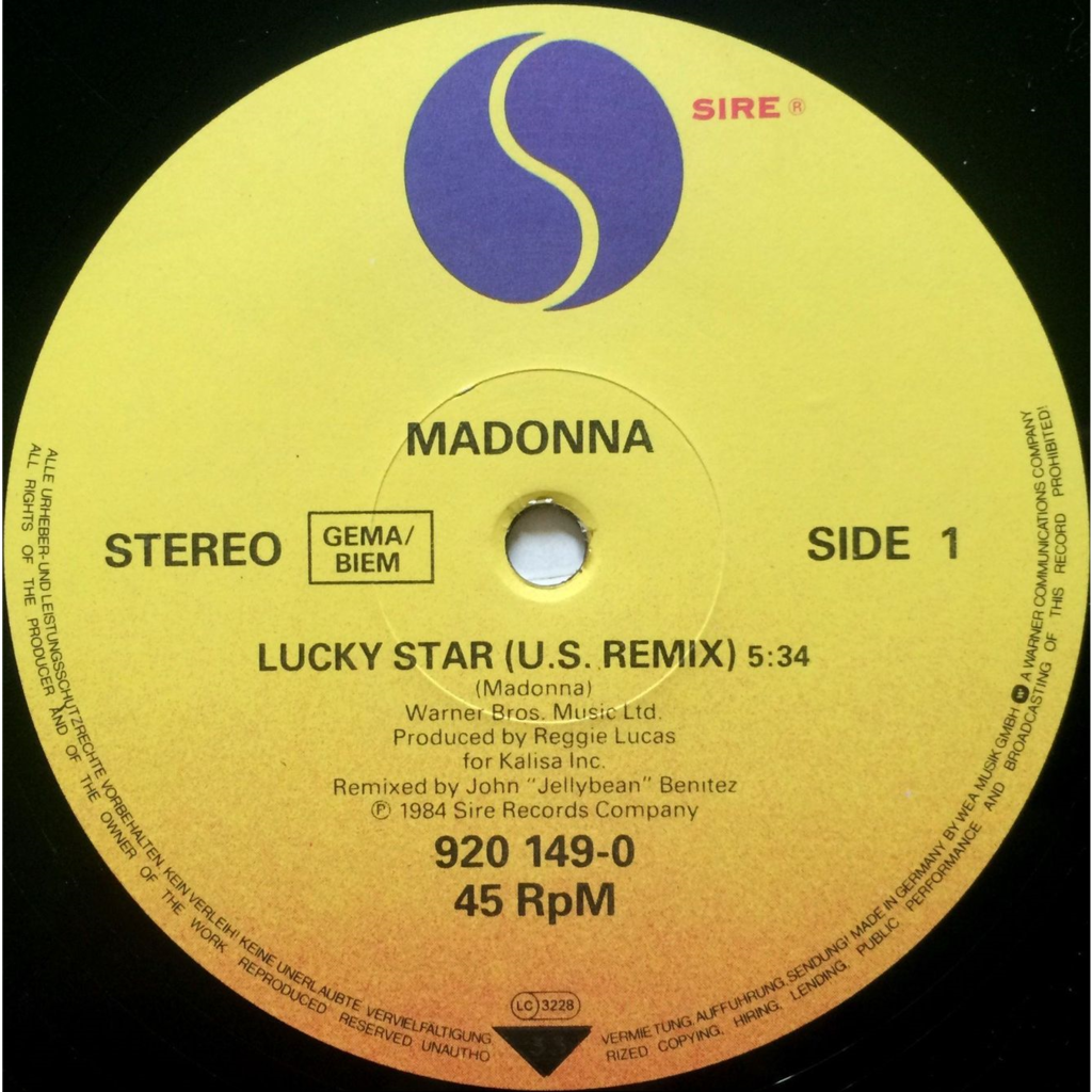 MADONNA - LUCKY STAR (GER. PRESSING 2 TRK 12 MAXI-SINGLE T.V. SCREEN COVER)