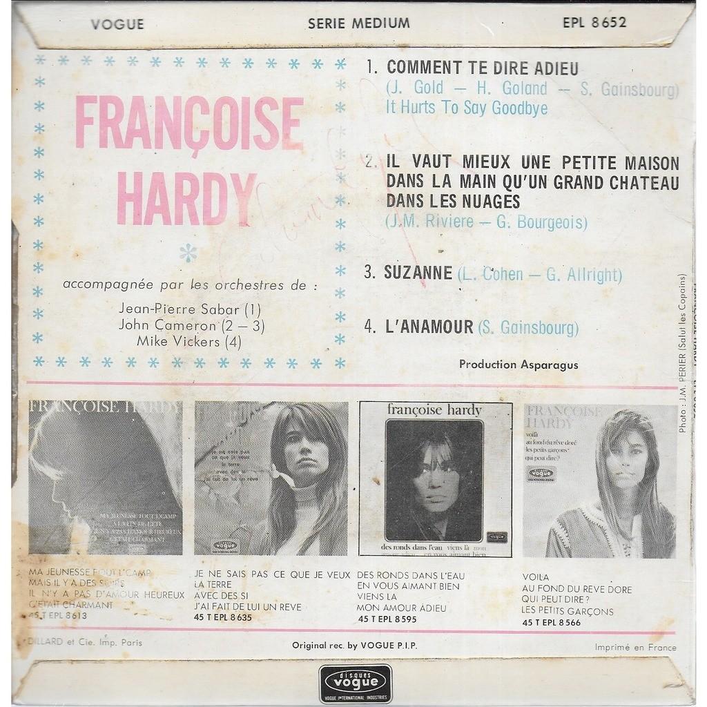Françoise HARDY Comment te dire adieu (Gainsbourg)