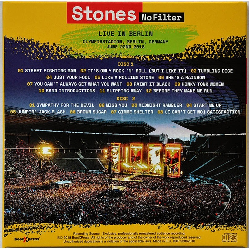 THE ROLLING STONES Live In Berlin Germany 2018 No Filter Tour 2CD Digisleeve