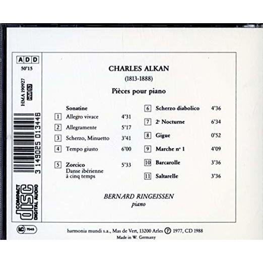Charles Alkan / Bernard Ringeissen Alkan / Pièces Pour Piano
