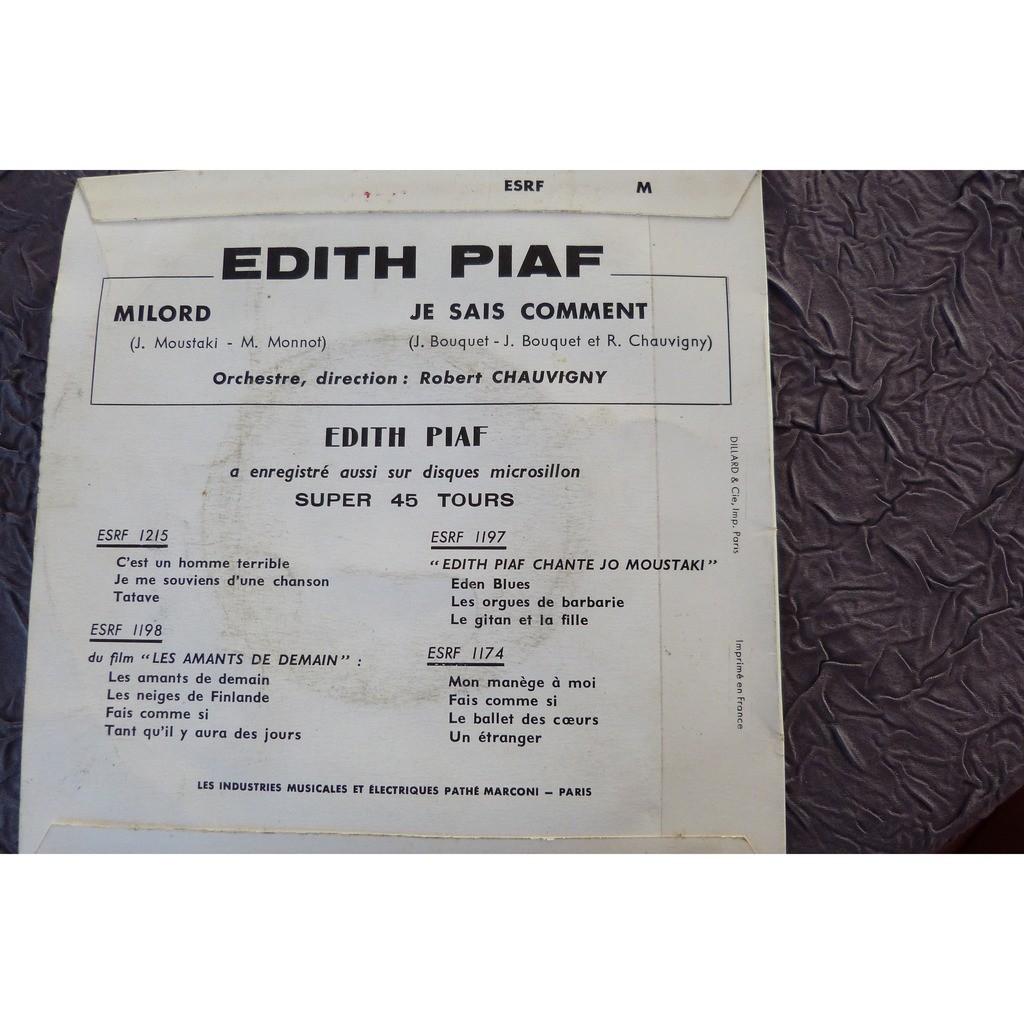 EDITH PIAF MILORD