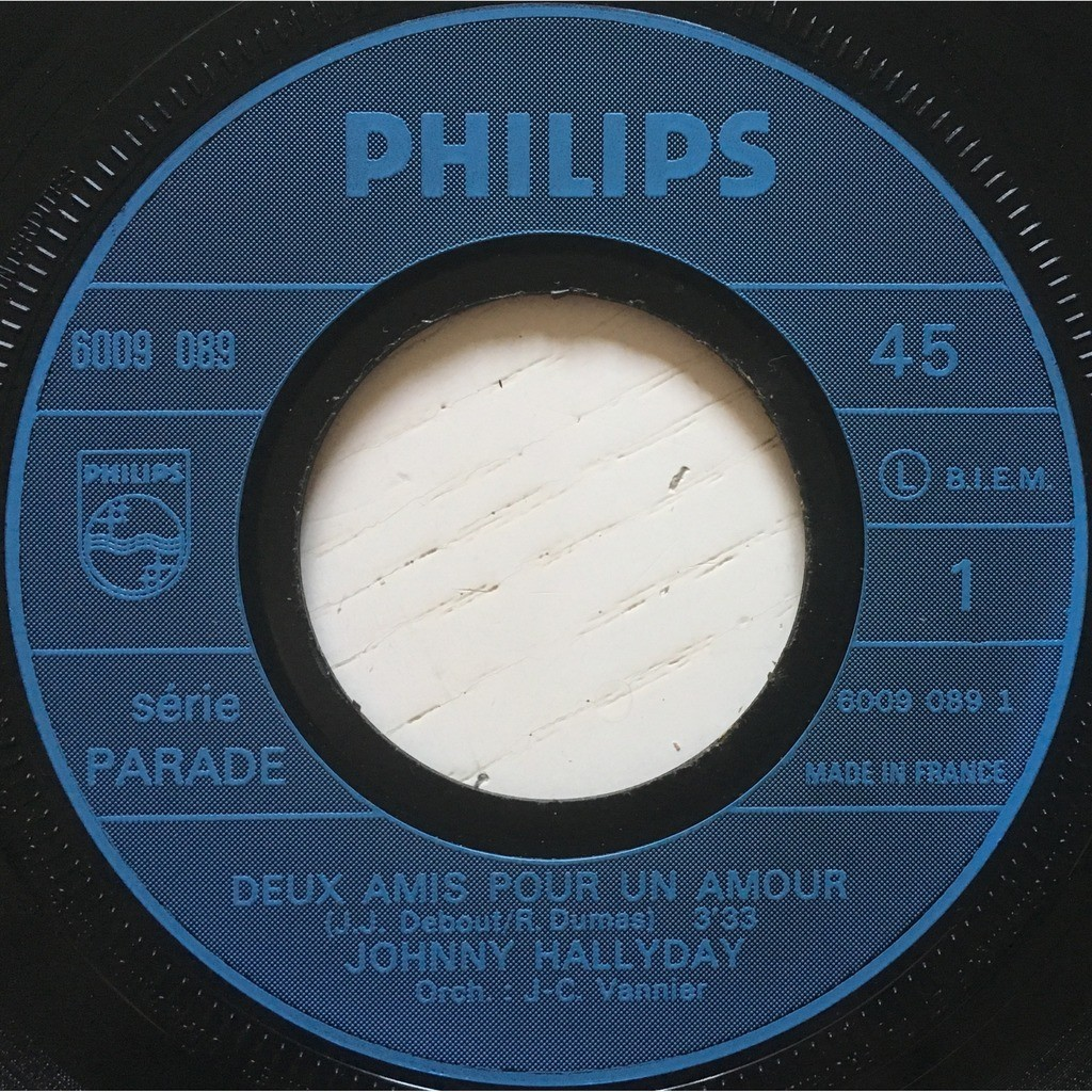 JOHNNY HALLYDAY - DEUX AMIS POUR UN AMOUR (FR. PRESSING 2 TRK VINYL 7 SINGLE)