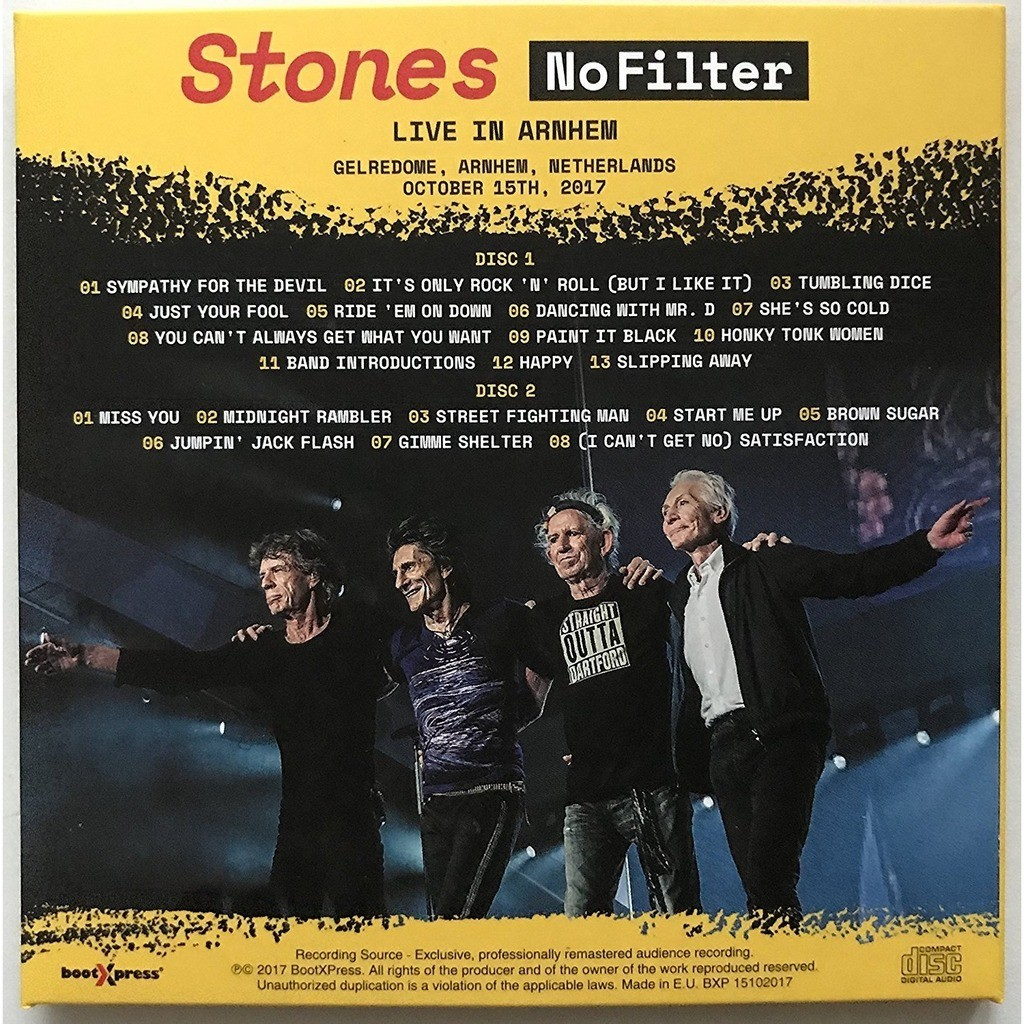 THE ROLLING STONES Live In Arnhem Netherlands 2017 No Filter Tour 2CD Digipak