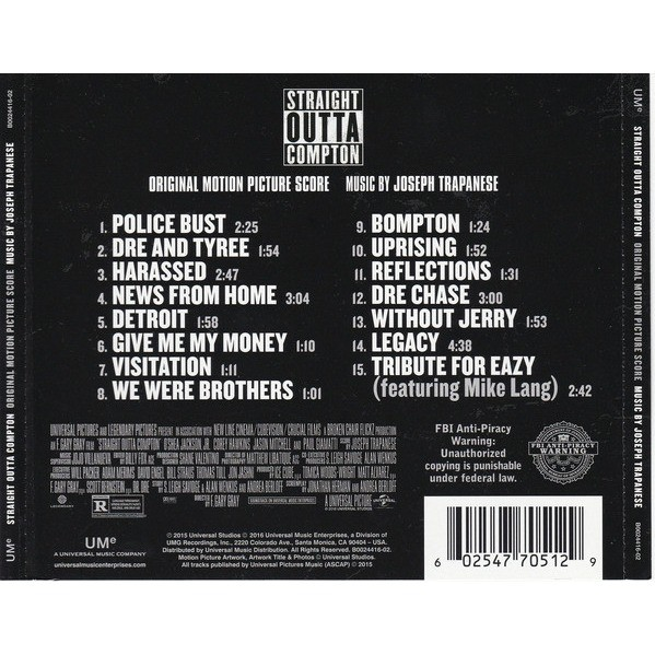 Straight outta compton (original motion picture score) by Joseph Trapanese,  CD with flaming