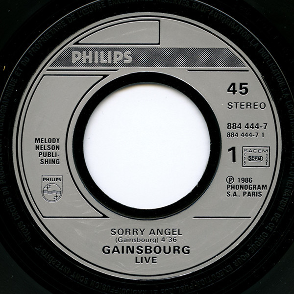 serge gainsbourg sorry angel(live)/bonnie and clyde(live)