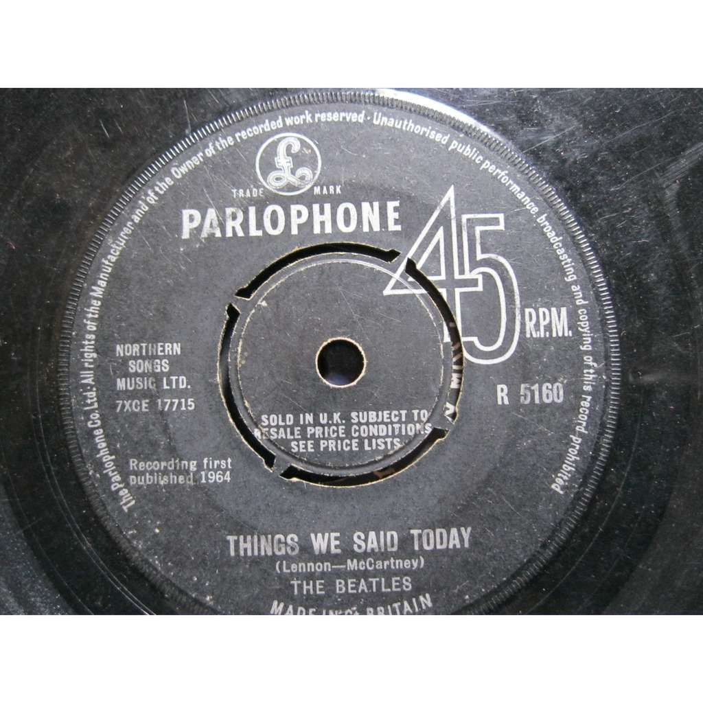 THE BEATLES A HAND DAY'S NIGHT / THINGS WE SAID TODAY