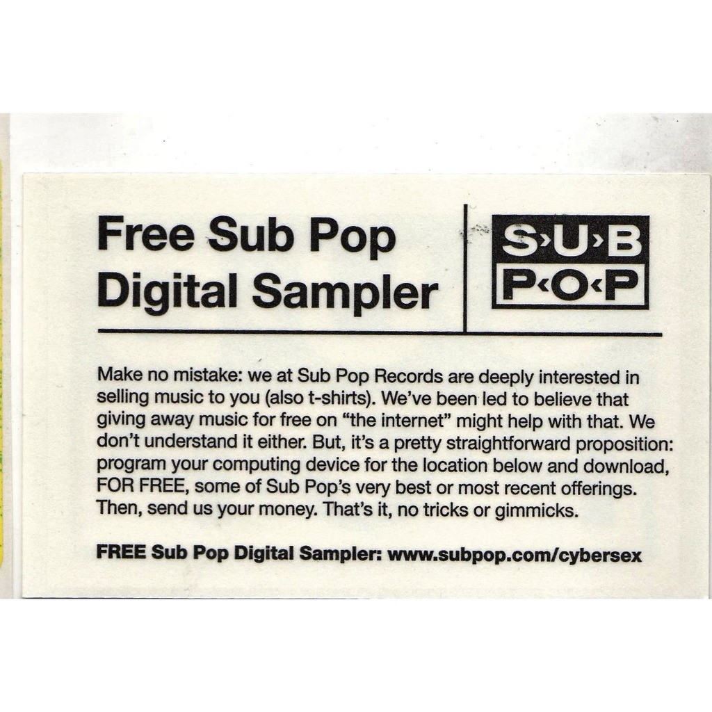 Nirvana / Sub Pop Sub Pop (USA 2009 promo-only sticker!)