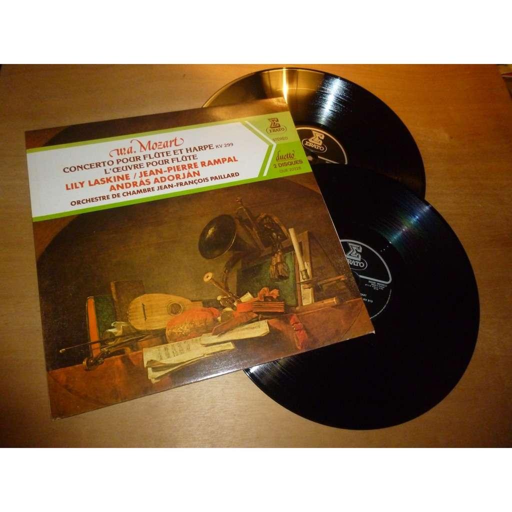 jean pierre rampal, lily laskine, andreas adorjan Mozart : concerto pour flute et harpe, l'oeuvre pour flute